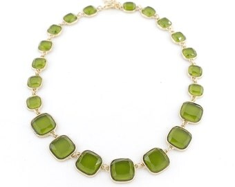 Gorgeous Gold-tone Green Square Stone Chain Statement Necklace,C6