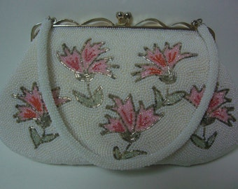 RESERVED FOR MHOP0305  Bridal handbag, white and pink floral beaded evening handbag,1960s vintage Japanese