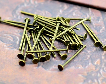 100pcs 16mm Antique Bronze T Pin/ Headpins Findings