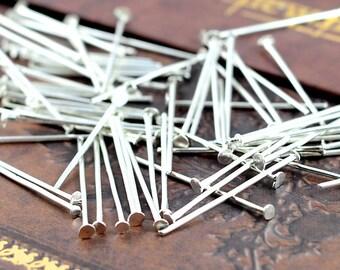 100pcs 24mm Bright Silver T Pin/ Headpins Findings