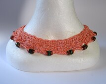 Vintage 1930s Silk Thread Crochet Collar with Venetian Beads