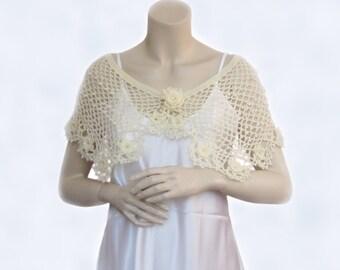 Hand Crochet Stole,Crochet Shawl,Womens Shawl,cream Shawl, Wool Shawl,Winter Wrap,Womens Stole, Trendy Knit,Lace stole shawl