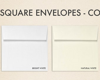 5 x 5 Square Envelopes – 100% Cotton - Pick A Color - Quantity of 50