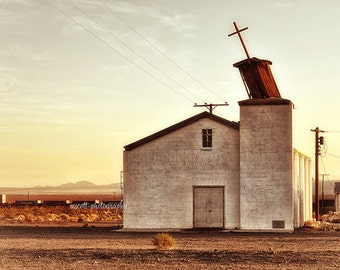 Route 66 Photography  Mojave Desert  Abandoned Church  Fine Art Landscape Photograph California  Kill Bill  Home Decor  Office Art  fpoe