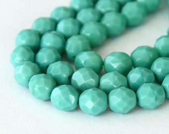 Opaque Turquoise Czech Glass Beads, 8mm Faceted Round - 25 pcs - e63130-8