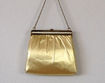 Vintage Gold Purse, Vintage Gold Evening Bag, Evening Clutch, Evening Purse, Vintage 1950s Gold Evening Bag, Gold Purse,