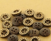 6 pcs 0.43~0.59 inch Brown 4 Hole Manual Natural Coconut Shell Buttons for Kids Shirts