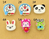 6 pcs 0.67~1.06 inch Kawaii Color Cartoon Wood Shell Buttons for Kids Babies