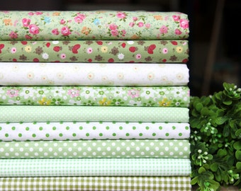 8 pieces Green Group Series Color Collection Cotton Cloth  Quilt Fabric-DIY Handmade Fabric Cloth