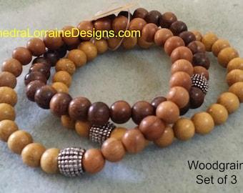 Woodgrain - Thedra Lorraine ManBead Bracelets - Set of 3