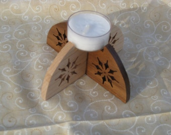 Snowflake Tea Light Candle Holder Made From Hard Maple And Walnut