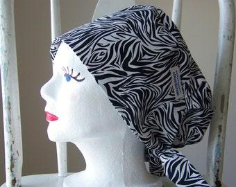 Scrub Hat Tie Back Pixie Style Zebra Print