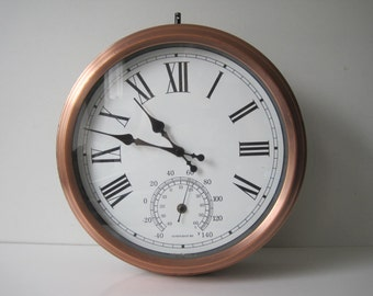 Vintage Reversible Clock & Thermometer F / C Copper E545z