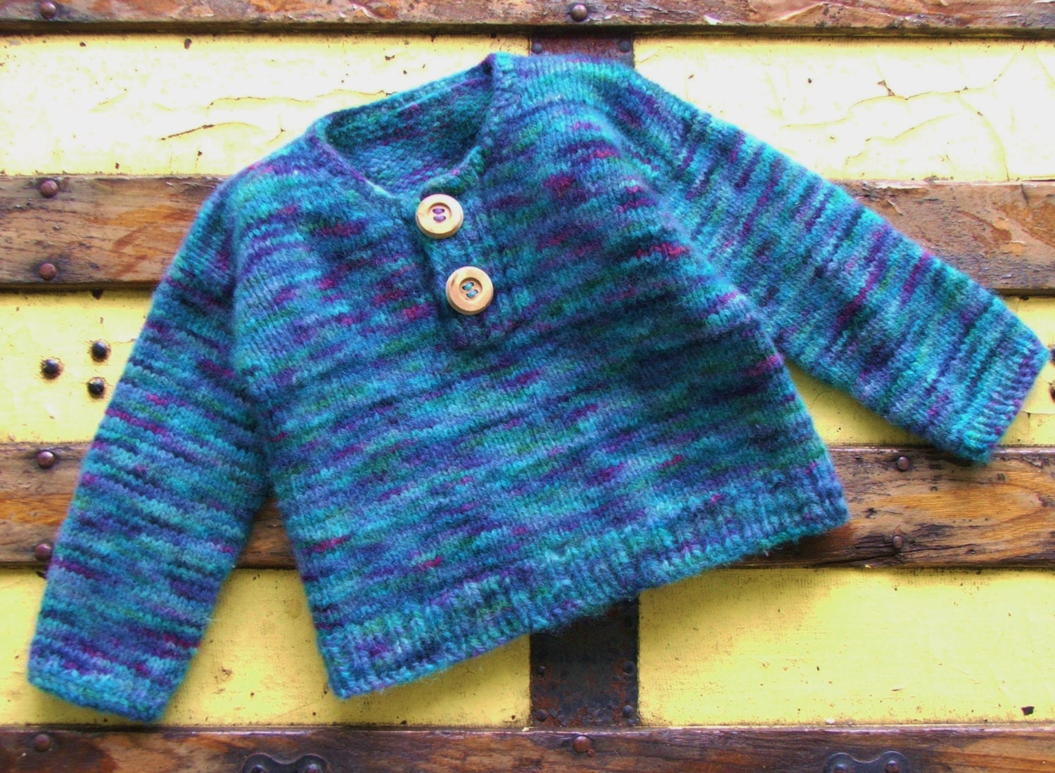 Hand Knitted Wool Baby Boy Clothes Blue