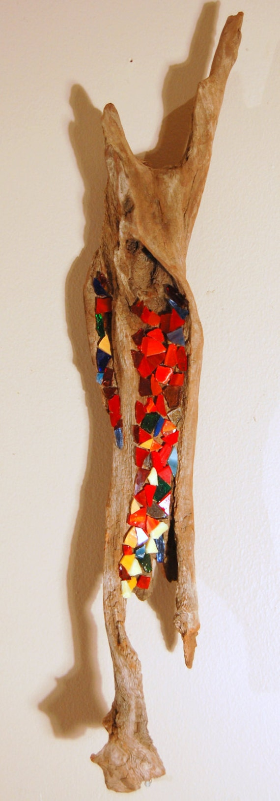 Items similar to driftwood mosaic art wall hanging one of for How to make stained glass in driftwood