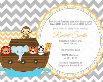 Orange Yellow and Grey Chevron Noah's Ark Baby Shower Invitation and FREE Thank You Card Printable DIY