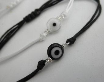 NEW black and white  adjustable evil eye bracelet - adjustable evil eye bracelet - black evil eye - white evil eye