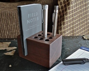 The Groove - Handmade Walnut Wood Pen and Notebook Holder