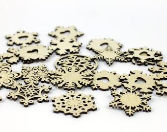 Set of 25x Christmas Wooden Snowflake Ornaments / Decor / Embellishments