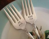 My Pie, Your Pie   vintage silverware hand stamped set of dessert forks