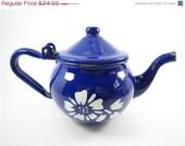 SALE Vintage enamel blue tea pot, blue tea pot