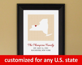 Valentine's Day Gift for Husband or Wife - Family Name Print - Personalized Established Sign - Present for Wife - Custom State Map - 11 x 14