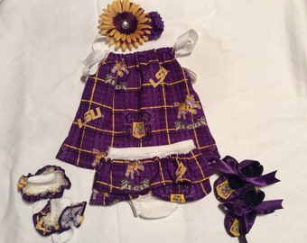 5 Pc Saints/LSU Baby Girl outfit