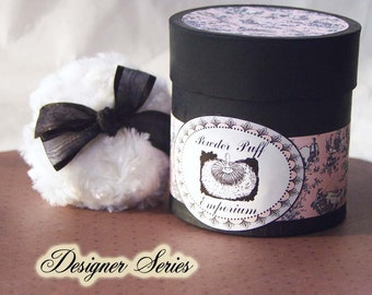 Designer Series Powdering SET (puff, powder box, powder) -  Pink and Black Toile