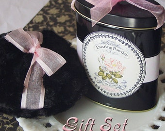 Gift Set - Dusting Powder SAMPLER in Black Metal Tin with Powder Puff - 2 designs