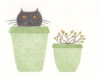 Cat Gift Cards - Cat in a Plant Pot