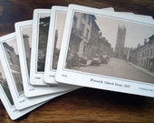 Set Of Six Victorian View Coasters Depicting Scenes Of Warwick, United Kingdom, In 1892 And 1922