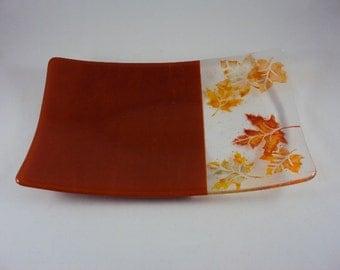 Autumn leaves rectangular glass sushi serving dish