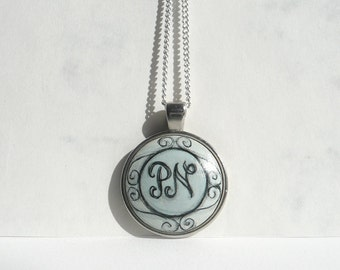 Unique Initials Necklace, Hand Painted Initials Charm, Personalized Charm Monogram Necklace Bezel, Chain, Monogram Art by Artdora
