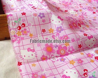 Shabby Chic Cotton Fabric, Pink Hello Kitty Flower Girl's Kids Japanese Fabric- A half Yard