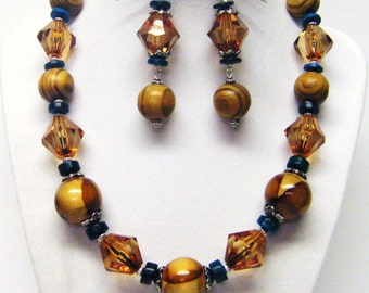 Chunky Wood & Acrylic Bead Necklace and  Earrings Set