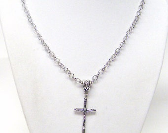 """1 & 1/4"""" Slender Silver Plated Crucifix Cross Pendant Necklace"""