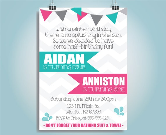 Printable Chevron Sibling Half-Birthday Invite Aidan