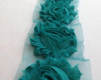 Teal Green Chiffon flower shabby frayed rosette