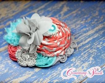 Coral, Turquoise, Grey Headband, Fabric Flower Hair Piece, Hairbow, Aqua Hair Clip, Gray Baby Hair Bow, Flower Hair Accessory, Accessories