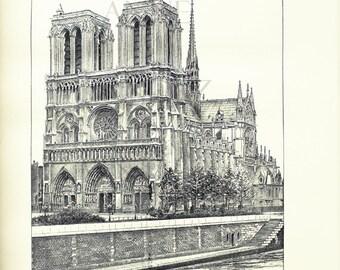 1889 Dessin noir et blanc cathédrale Notre Dame de Paris dessin vintage Auguste Vitu