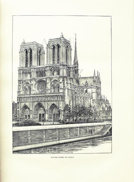 1889 dessin noir et blanc cath drale notre dame de paris - Photos noir et blanc vintage ...