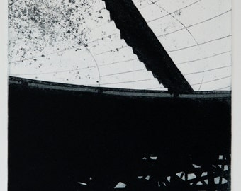 Etching Print - Industrial Etching - Satellite Dish Etching - 'Goonhilly Six Detail' by William White - FREE SHIPPING