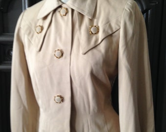 40s Military Styling Womens Wool Gabardine Khaki Suit