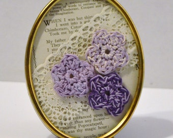 Vintage Brass Frame Crochet Flowers Lace Old Book Page Romantic Purple Handmade LittlestSister
