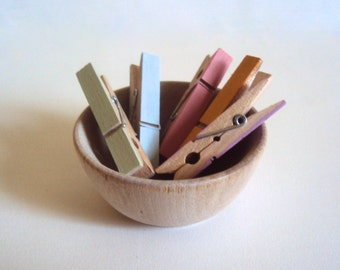 Set of Six Small Colored Clothespins - Pastel Mini Clothes Pins - Cottage Chic Spring Decor - Decorative Photo Holder - Photo Clothesline