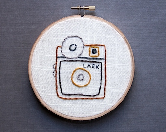 Lark Vintage Camera Embroidery Hoop Art, Brown Mustard Yellow, Hand-stitched home decor, retro camera, 5 inch hoop, quirky hipster art