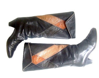 Vintage  POLLINI BOOTS  reptile  us7  fr38  uk 5 made in italy