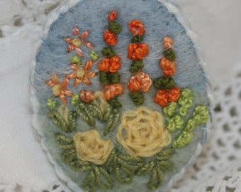 Embroidered Rose Garden Brooch - Yellow and Orange - Felted and Stitched by Lynwoodcrafts