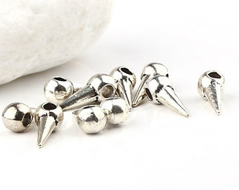 Silver Spike Charms, 4,5mm, 10 piece - Jewelry Supplies // SPCh-075
