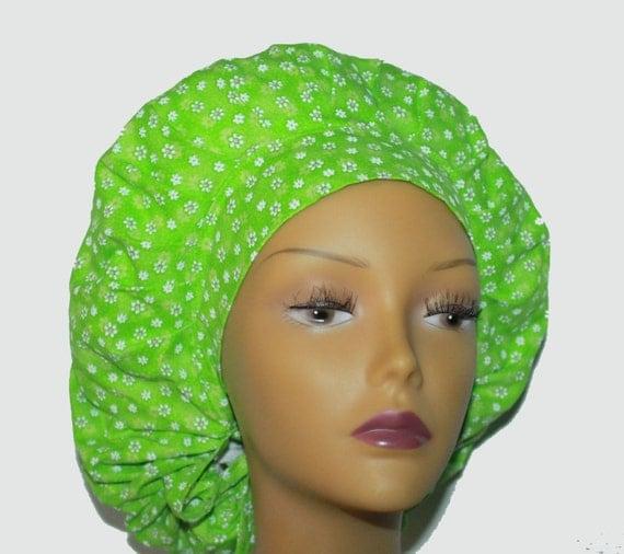 Bouffant Scrub Hat with ties - White Daisy flowers Bouffant Scrub Hat - Ponytail Scrub hat